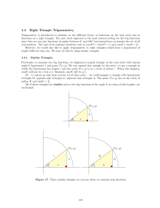 Lecture Notes 4.4 Right Triangle Trig