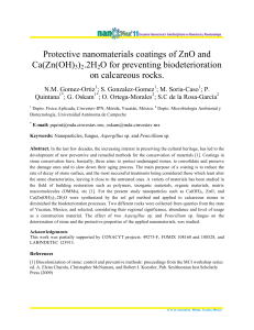 Protective nanomaterials coatings of ZnO and Ca(Zn(OH)3)2.2H2O