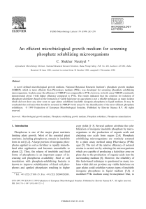An efficient microbiological growth medium for screening phosphate