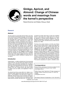Ginkgo, Apricot, and Almond: Change of Chinese words and