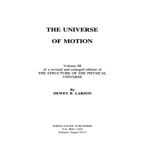 Universe of Motion - Reciprocal System of theory