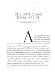 the orthodox renaissance - University of St. Thomas