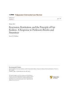 Rescission, Restitution, and the Principle of Fair Redress: A