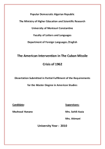 The American Intervention in The Cuban Missile Crisis of 1962