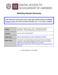 Rethinking Athenian Democracy The Harvard community has made