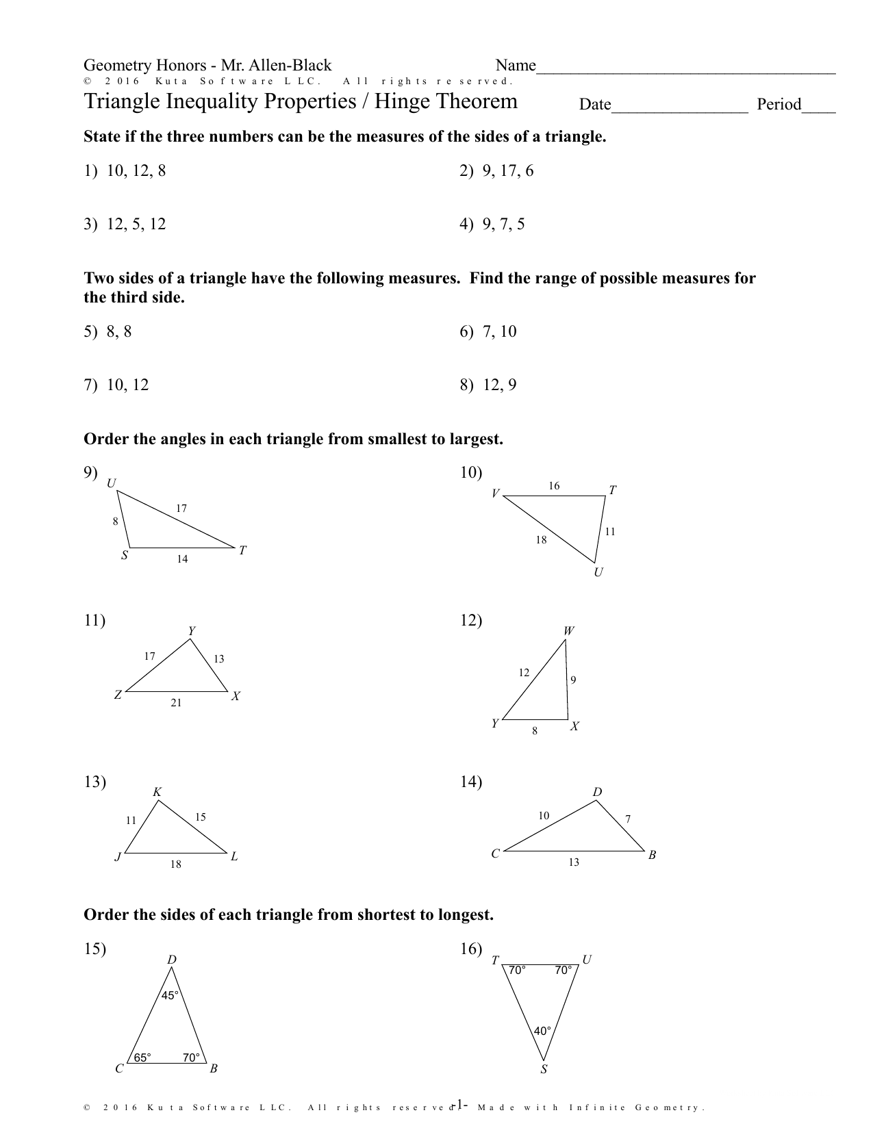 Triangle Inequality Properties / Hinge Theorem Intended For Triangle Inequality Theorem Worksheet