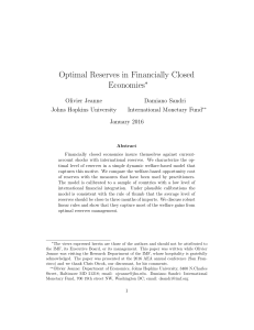 Optimal Reserves in Financially Closed Economies