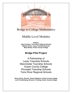 Math - Middle Level Curriculum
