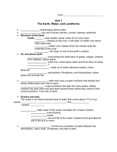 Unit 1 The Earth, Water, and Landforms