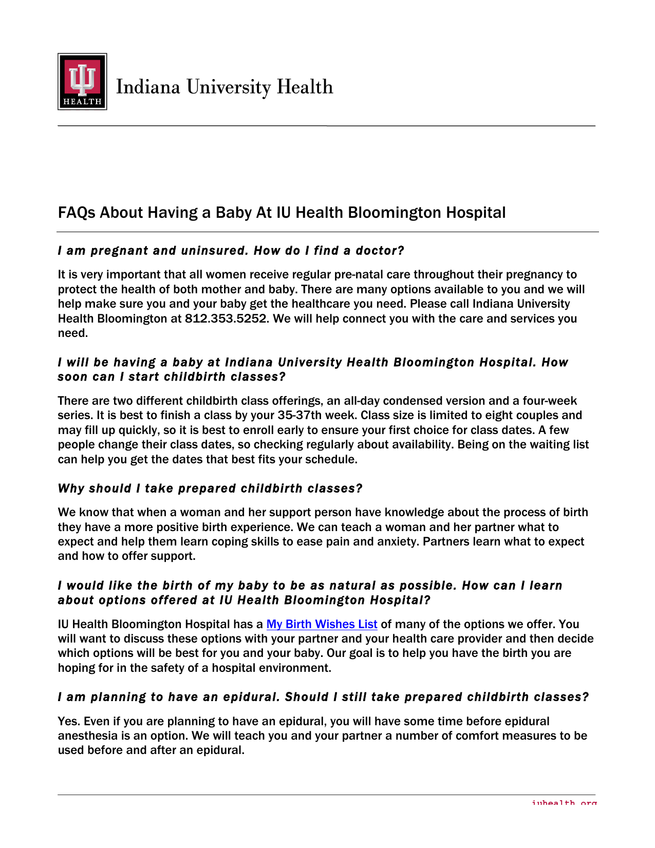 Faqs About Having A Baby At Iu Health Bloomington Hospital