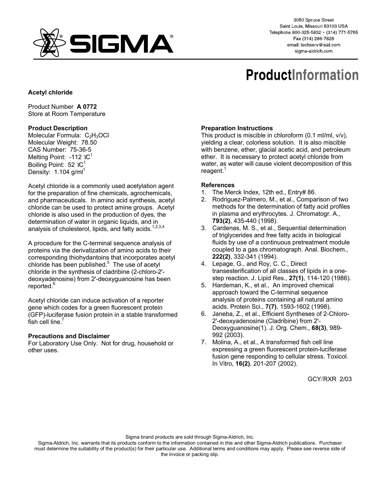 Acetyl chloride (A0772) - Product Information Sheet - Sigma