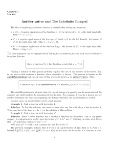 Antiderivative and The Indefinite Integral