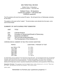 MID-TERM FINAL REVIEW Multiple Choice - 50 Questions 2