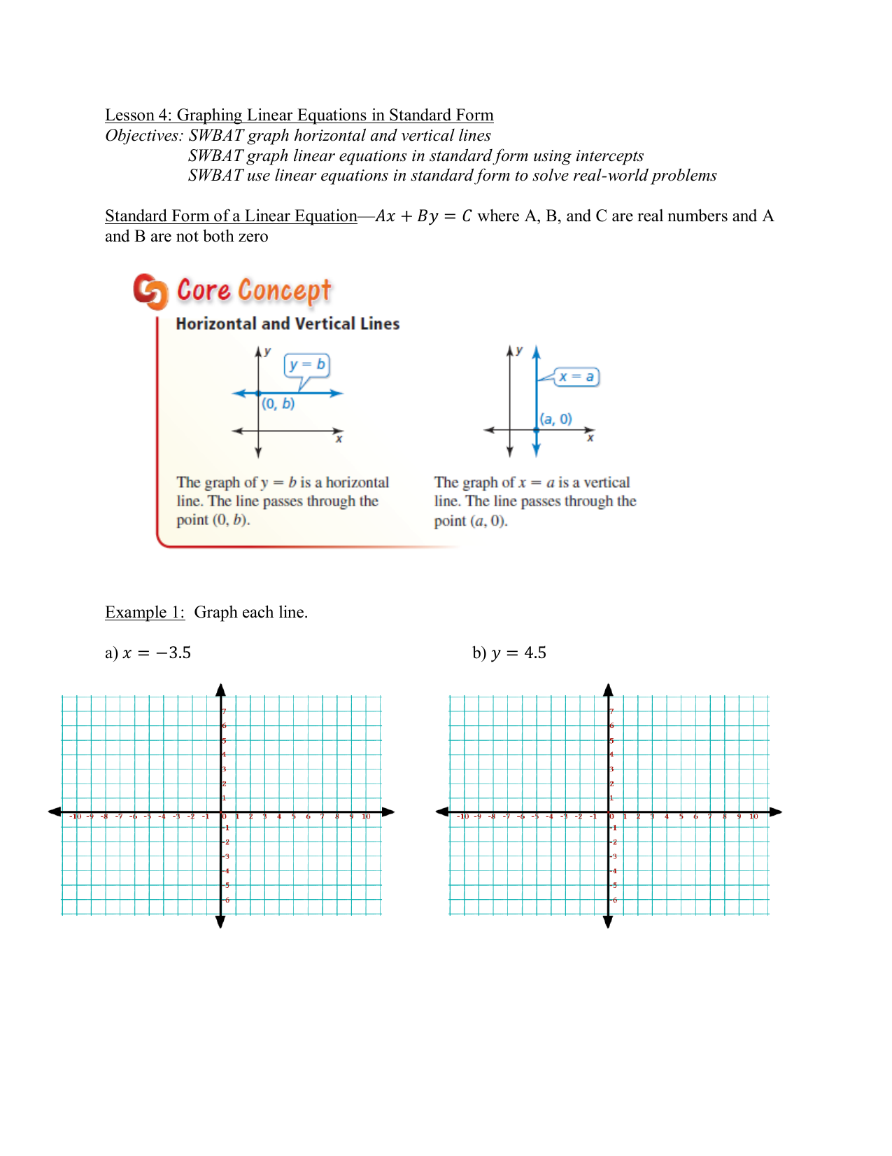 Lesson 4 Graphing Linear Equations In Standard Form Objectives