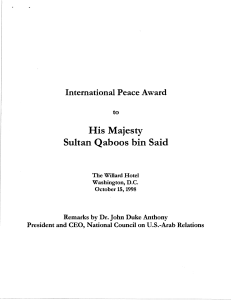 Remarks at the presentation of an International Peace Award to His