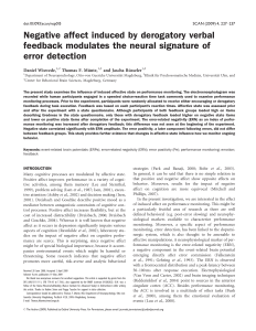 Negative affect induced by derogatory verbal feedback modulates