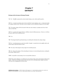Chapter 7 ENTROPY