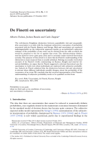 De Finetti on uncertainty - Oxford Academic