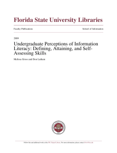 Undergraduate Perceptions of Information Literacy: Defining