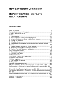 De Facto Relationships - NSW Law Reform Commission