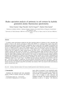 Redox speciation analysis of antimony in soil extracts by hydride