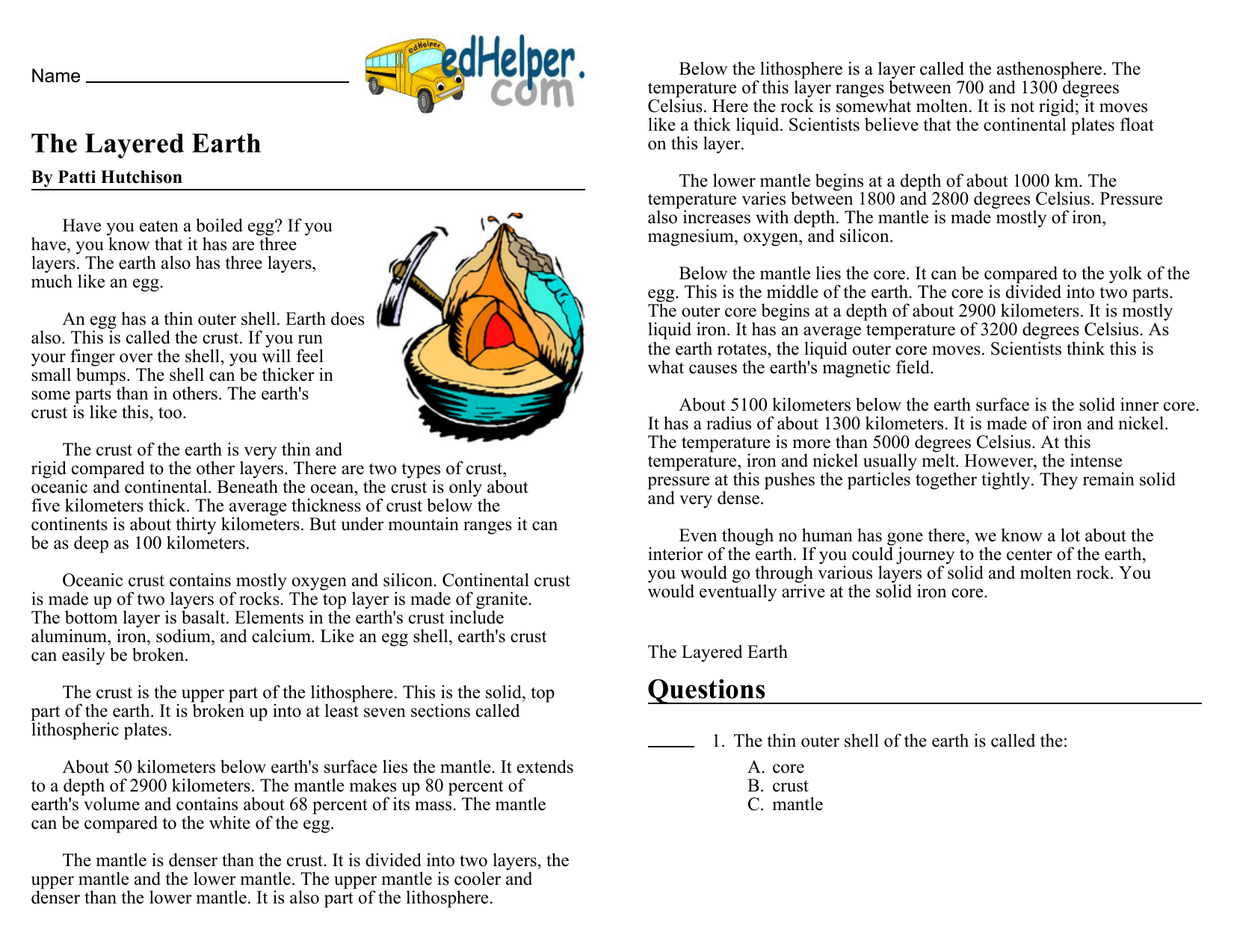 Earths interior worksheet 1 answers