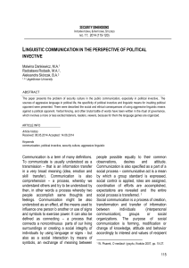 linguistic communication in the perspective of political invective