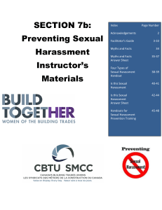 Preventing Sexual Harassment Instructor`s Materials