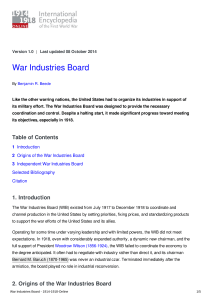 War Industries Board - 1914-1918