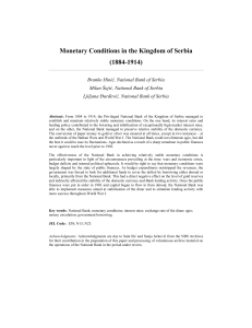 Monetary Conditions in the Kingdom of Serbia (1884-1914)