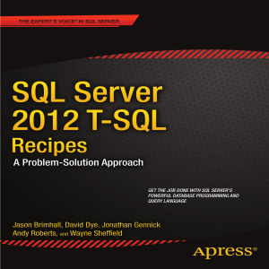 SQL Server 2012 T-SQL Recipes: A Problem-Solution Approach