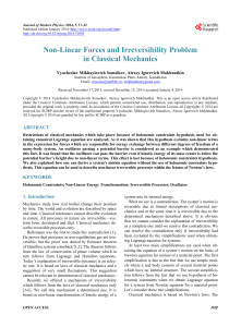 Non-Linear Forces and Irreversibility Problem in Classical Mechanics