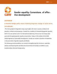 Gender equality policy brief
