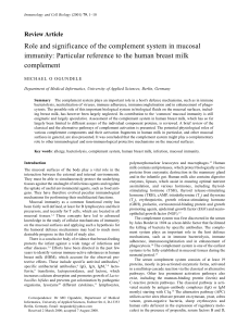 Role and significance of the complement system in mucosal