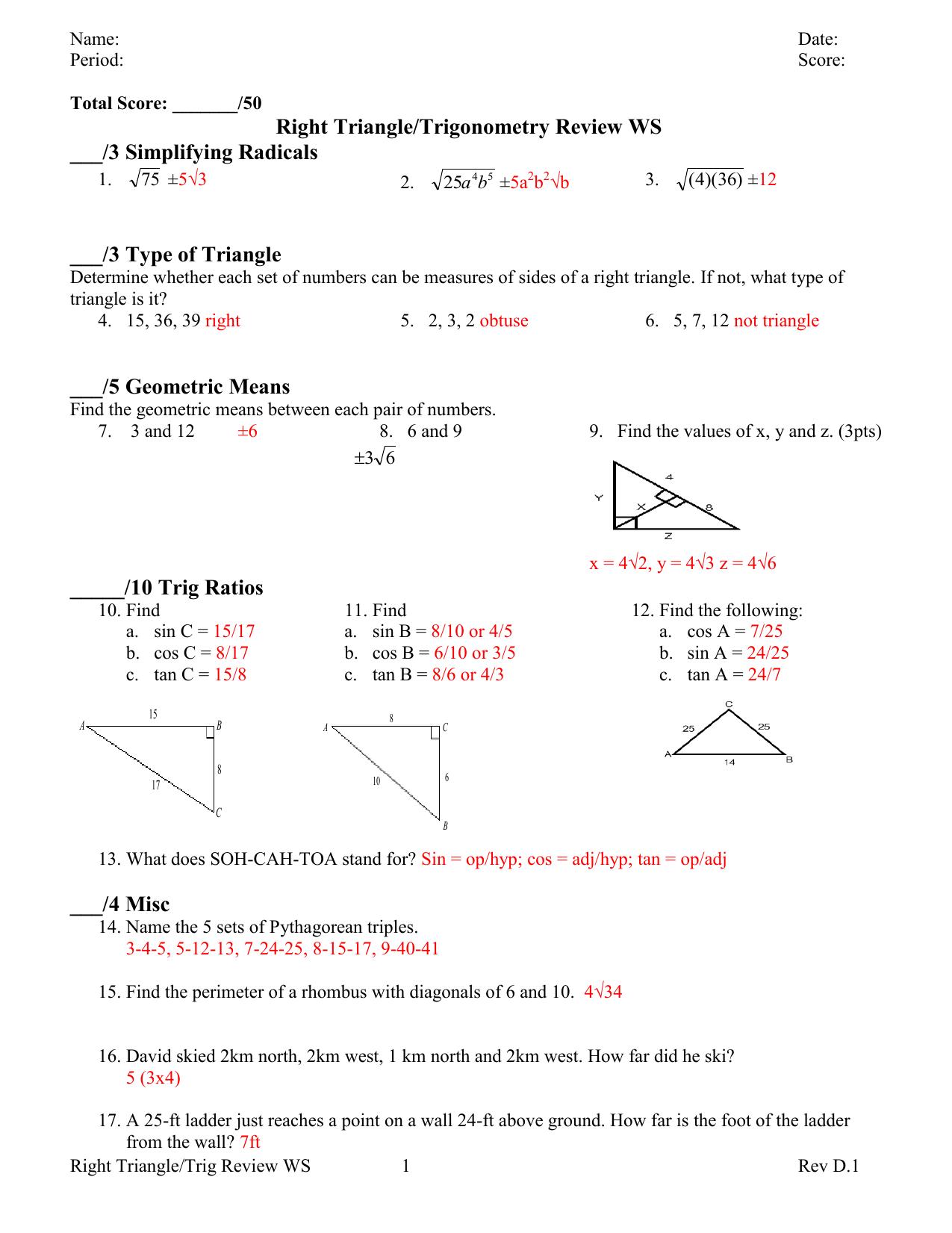 Right Triangle/Trigonometry Review WS