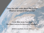 Does the solar orbit about the Galaxy influence terrestrial biodiversity?