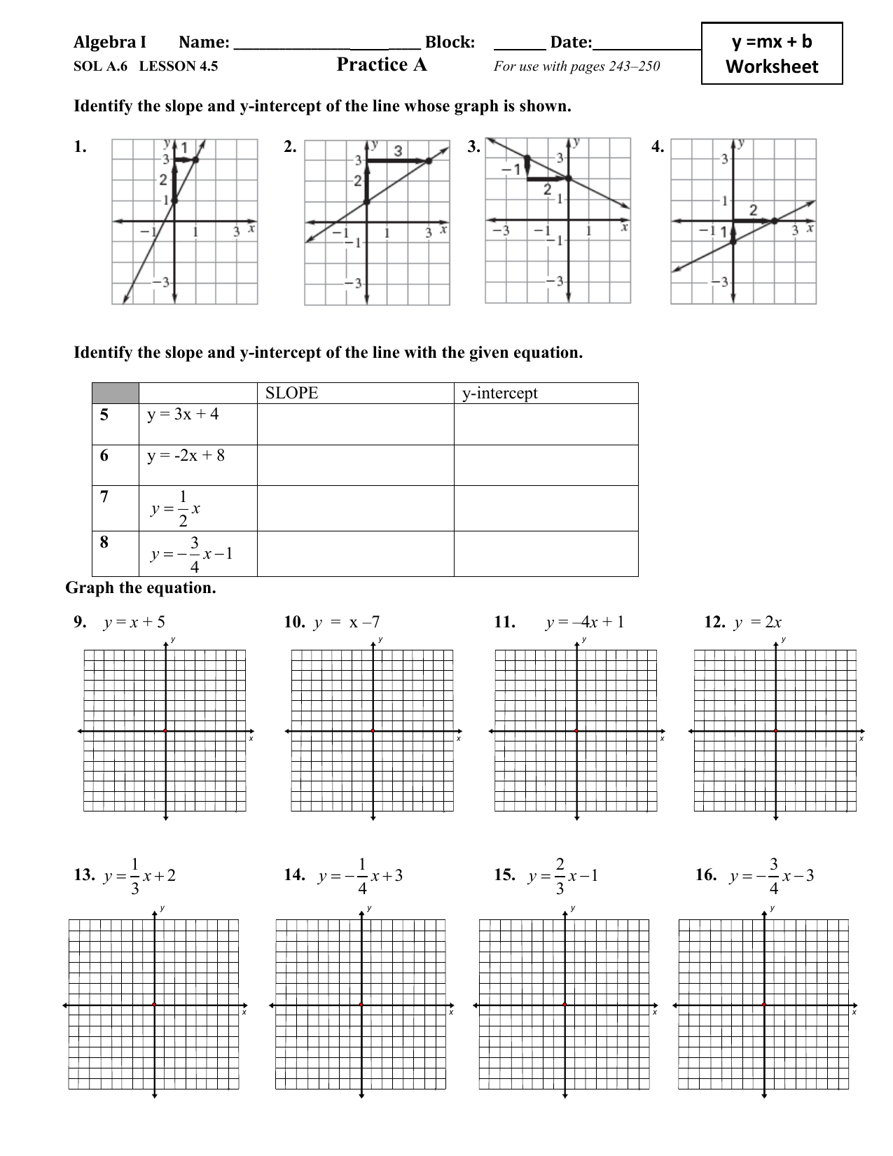 Practice A y =mx + b Worksheet