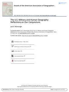 The U.S. Military and Human Geography: Reflections on Our