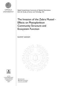 The Invasion of the Zebra Mussel - Effects on Phytoplankton