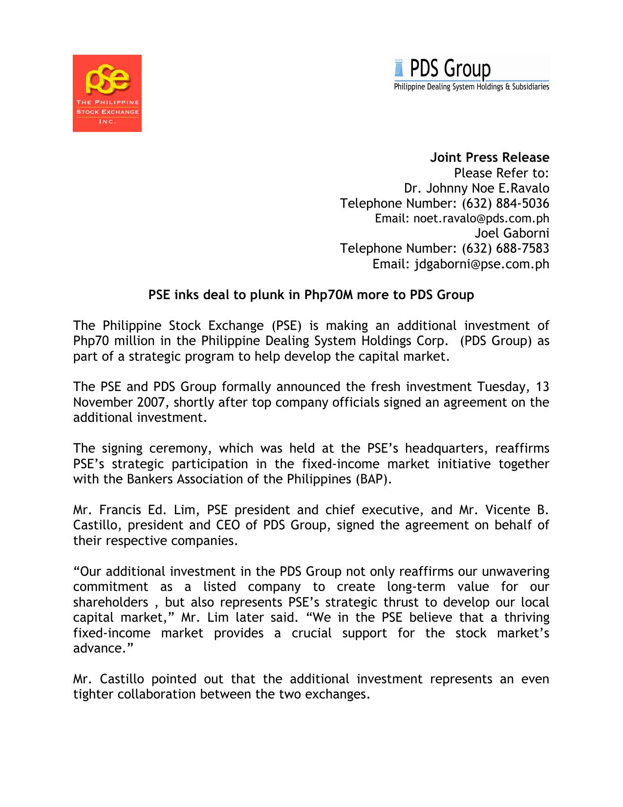 PSE inks deal to plunk in PhP70 Million more to PDS Group