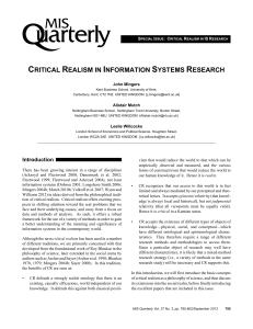 Critical Realism in Information Systems Research