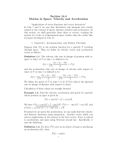 Section 14.4 Motion in Space: Velocity and Acceleration