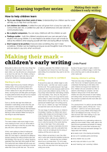 Making their mark – children`s early writing Linda Pound