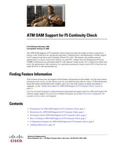 ATM OAM Support for F5 Continuity Check