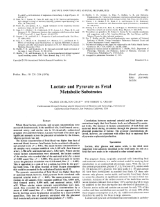 Lactate and Pyruvate as Fetal Metabolic Substrates