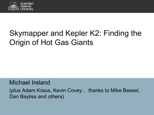 Skymapper and Kepler K2: Finding the Origin of Hot Gas Giants