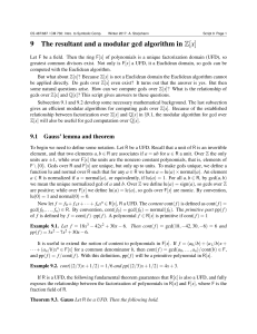 9 The resultant and a modular gcd algorithm in Z[x]