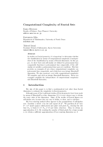 Computational Complexity of Fractal Sets 1