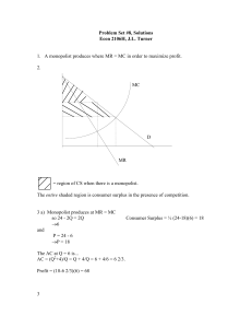 Problem Set #8, Solutions Econ 2106H, J.L. Turner 1. A monopolist