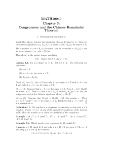MATH10040 Chapter 3: Congruences and the Chinese Remainder
